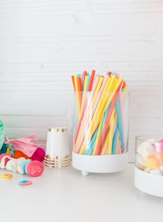 DIY Footed Candy Jars from Sugar and Spice. Love how easy these would be to make for a pretty dessert table!