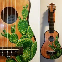 Find more ukuleles like this at our… Hand painted custom ukulele. Find more ukuleles like this at our Etsy shop UkuleleLooks! Arte Do Ukulele, Ukulele Songs, Guitar Painting, Guitar Art, Ukelele Painted, Painted Guitars, Ukulele Design, Cactus Painting, Beautiful Guitars