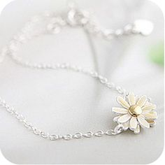 Cindiry New Arrival Casual Fashion Lovely Yellow Daisy Flower Silvery Bracelet Fashion Long Bangle Wrist Chain Women Jewelry Daisy Bracelet, Wedding Bracelet, Wedding Jewelry, Pandora Bracelets, Bangle Bracelets, Bangles, Yellow Daisy Flower, Daisy Flowers, Fashion Bracelets