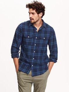 Regular-Fit Plaid Flannel Shirt Product Image
