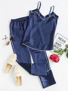 Shop Satin Contrast Binding Cami Pajama Set online. SheIn offers Satin Contrast Binding Cami Pajama Set & more to fit your fashionable needs.