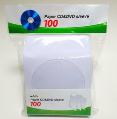 100 Pcs. CD DVD White Paper Sleeves Clear Window and Flap Envelopes #unbranded