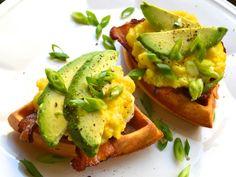 #Recipe: Chili Waffles with cheesy scrambled eggs and avocado