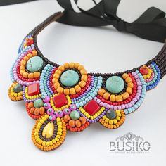 African jewelry for women Bead embroidered bib necklaces