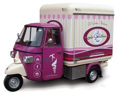 3 wheeler Piaggio fitted out as ice-cream shop in Czech Republic. Look how the Ape Car is designed and equipped. Get a Free Price Quote for your food truck!
