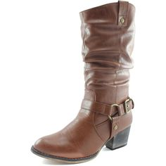 Women's Slouch Mid Calf Ankle Strap Buckle Western-01 Style Cowboy Boots *** Details can be found  : Ladies boots