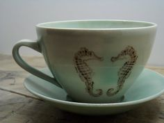 20 OFFPorcelain Green Goldfish and Seahorse by FaithAdamsCeramics, $32.00