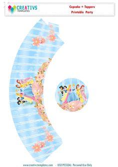 Arte para cupcake e topper Princesas Disney  Personalize, imprima e use a vontade. Uso pessoal ( Não distribua, não venda, não plagiar por favor