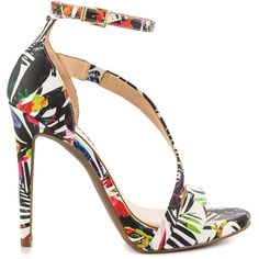 Jessica Simpson Women's Rayli - Multi Multi Palm Print ($90) ❤ liked on Polyvore featuring shoes, strappy high heel shoes, stilettos shoes, wrap shoes, colorful high heel shoes and stiletto high heel shoes