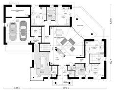 Willa Parkowa 6 on Behance Four Bedroom House Plans, Small House Floor Plans, Home Design Floor Plans, Family House Plans, Best House Plans, Dream House Plans, My Dream Home, Modern Bungalow House, Bungalow House Plans