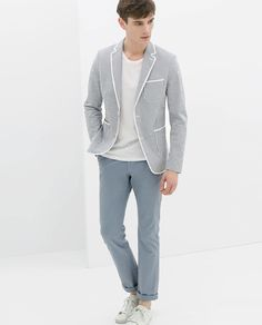 5b8d52d2 Image 1 of STRIPED BLAZER WITH PIPING from Zara Zara Man, Striped Blazer,  Zara