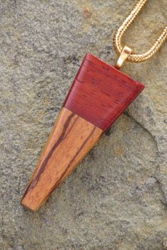 Wooden pendant on gold snake chain hand made