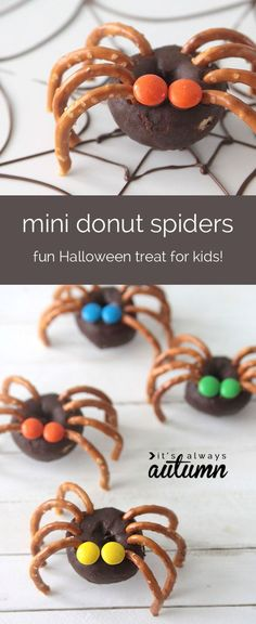 easy mini donut spiders - easy Halloween treat kids can make - It's Always Autumn love these mini donut spiders! super easy and fun treat to make with your kids this Halloween. Buffet Halloween, Halloween Treats To Make, Halloween Party Snacks, Halloween Recipe, Halloween Halloween, Halloween Donuts, Healthy Halloween Snacks, Halloween Baking, Halloween Deserts Easy