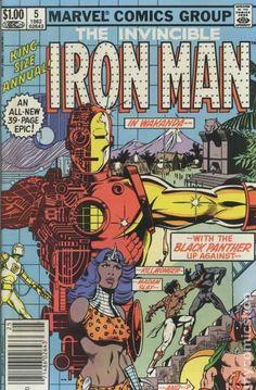 The Invincible Iron Man Annual 1982 Black Panther Wakanda Appearance Civil War Marvel Comic Book Tony Stark T'Challa Mandarin Iron Man Comic Books, Marvel Comic Books, Comic Book Characters, Comic Books Art, Comic Art, Book Art, Hq Marvel, Marvel Dc Comics, Archie Comics
