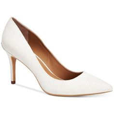 Calvin Klein Women's Gayle Pointed-Toe Pumps ($109) ❤ liked on Polyvore featuring shoes, pumps, platinum white, white pointed-toe pumps, calvin klein pumps, pointy-toe pumps, pointed toe shoes and platinum shoes
