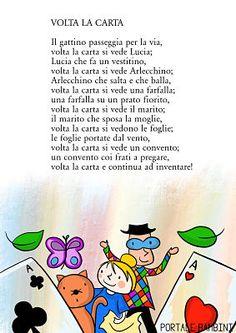 Volta la Carta: testo e filastrocca illustrata | Portale Bambini Canti, Activities For Kids, Fairy Tales, Sisters, Songs, Children, School, Funny, Creativity