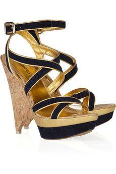 b5aabcd7d74 Emilio Pucci - Multi-strap suede platform sandals. Navy Heeled ...
