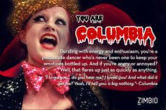 Rocky horror picture show character quiz: I got Columbia! Rocky Horror Picture Show Costume, Rocky Horror Costumes, Columbia Rocky Horror, Rocky Horror Show, Rocky Horror Characters, Video Game Music, Fiction Film, Horror Pictures, Halloween Horror