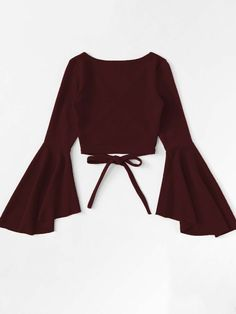 Wrap shirt with flounce sleeves is part of Outfits - Wickelshirt mit Volantärmeln SHEIN Wrap shirt with flounce sleeves Shein Teen Fashion Outfits, Mode Outfits, Look Fashion, Girl Fashion, Girl Outfits, Fashion Dresses, Fashion Jobs, Young Fashion, 70s Fashion