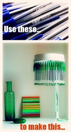 #DIY plastic pen lamp #upcycle