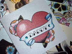 Heart and Blossom tattoo alternative handmade fathers day card