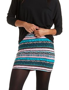 Tribal Print Bodycon Mini Skirt: Charlotte Russe #charlotterusse #charlottelook #tribal #bodycon #mini #skirt