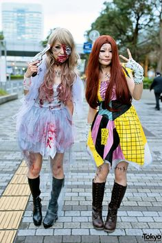 Cute girls in Halloween costumes (one as Sally from NBC) at the VAMPS Halloween party from tokyofashion.com