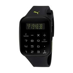 Puma Calculus Digital Dial Black Plastic Unisex Calculator Watch ($78) ❤ liked on Polyvore featuring jewelry, watches, digital wrist watch, digital watch, rectangular digital watch, bezel watches and rectangular watches