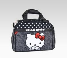 An image of Hello Kitty Overnight Bag: Black & White Dot