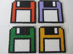 Gift - Retro Vintage Style Plastic Drink Bead Coaster (Set of 4) Computer FLOPPY DISC (Free P&P / Shipping) on Etsy, £6.99