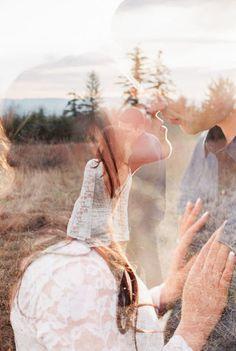 Sunset, Magenta, Orange, Double Exposure, Lovestory, Engagement, Couples, Closeup, Fields