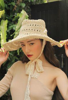 5532db0b325 Korean Dreams Girls. Hollow crochet beige straw hat ...