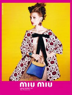 Neon Miu Miu – Miu Miu taps Australian actress Mia Wasikowska for its spring 2012 campaign. Laden with accessories and a smokey eye, the new season is all about kitsch with a neon color palette and vintage prints on full display. (TFS)