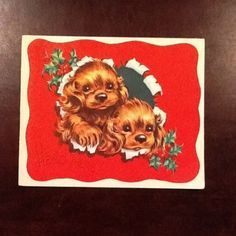 #C396- Vintage Adorable Cocker Spaniel Puppies Christmas Greeting Card