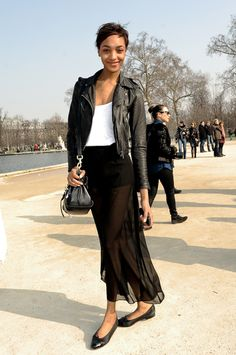 dac449c21d1 leather jacket chifon skirt www.street-fashion.tumblr.com Sheer Maxi Skirt