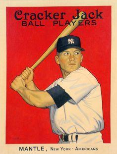 "Mickey Mantle, NY Yankees ""A Card That Never Was"" artwork by Arthur K Miller Damn Yankees, New York Yankees, Better Baseball, The Mick, Evil Empire, Cracker Jacks, Mickey Mantle, Sports Art, Custom Cards"