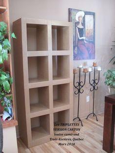 """""""Les Triplettes"""" mes premiers meubles en carton. Bibliothèque ou étagère très solide qui peut être soit debout soit couchée."""