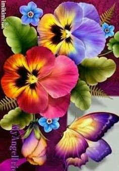 Butterfly and Pansies