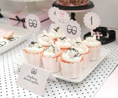Strawberry almond cupcakes at a Pink and Black Little Lady Party #pinkblack #cupcakes