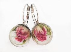 Real roses dangle and drop earrings Epoxy resin sphere
