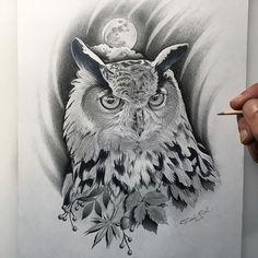 Owl tattoo design by Rui Kameta