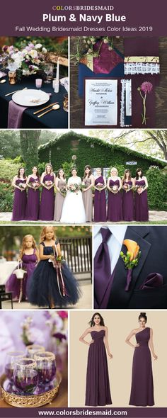 Plum bridesmaid dresses with navy men's suit, flower girl dresses and table cloth, great for fall wedding color palettes wedding table Navy Fall Weddings, Fall Wedding Bridesmaids, Fall Wedding Bouquets, Fall Wedding Dresses, Wedding Flowers, Wedding Suits, Wedding Flower Girls, Plum Flowers, Fall Dresses