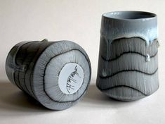 Pair of Tumblers with Meditative Lines 11 Pottery Mugs, Ceramic Pottery, Personal Project Ideas, Pottery Designs, Pottery Ideas, Mugs And Jugs, Smart Art, Wheel Thrown Pottery, Tea Bowls