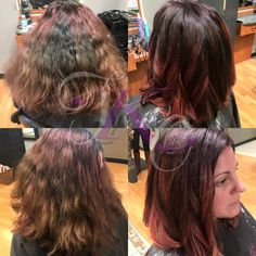 Hair Transformation, color correction, red balayage, curly hair styles by Lindsey @totalknockoutsalonandspa