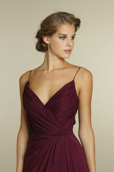Bridesmaid Gowns spring 2012 Merlot luminescent chiffon A-line bridesmaid gown, V-neckline, draped bodice style Bridal Dresses Online, Grad Dresses, Lace Dresses, Short Dresses, Formal Dresses, Wedding Dresses, Party Dresses, Dress Long, Dresses 2014