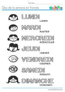 Ficha educativa para niños para aprender los días de la semana en francés. Aprender idiomas con fichas coloreables. Ficha con los días de la semana...