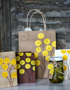 DIY Painted Yellow Billy Ball Flowers