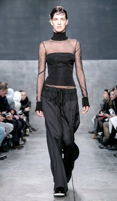 At Thom Browne, a Challenge From the Fringe - NYTimes.com  From Vera Wang, oversize drawstring trousers and a sheer top.