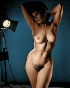 Bettie Page nude in the studio, photography by Peter Basch