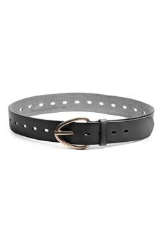 Black or chestnut brown leather belt with perforation all the way around to ensure a versatile fit from your waist to hips to jeans.  Width: 1.5in   Length: Adjustable Antique brass hardware Buckle closure.    Perry Perforated Belt by Linea Pelle. Accessories - Belts Wicker Park Chicago Illinois